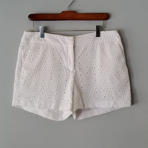 St. Tropez West White Perforated Mid Rise Shorts 4